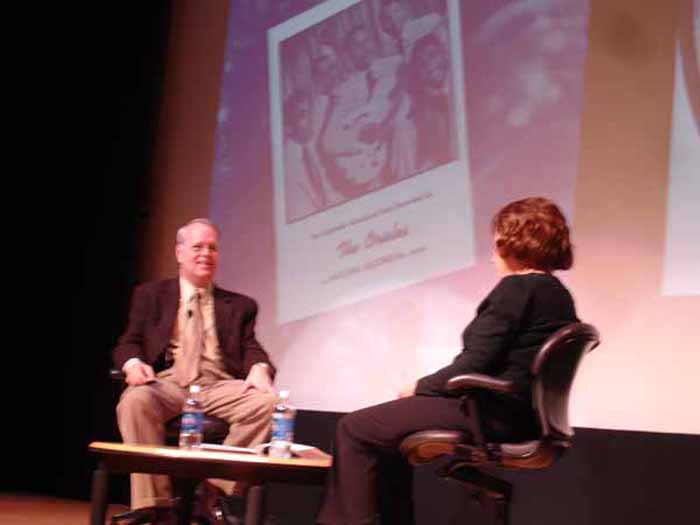 Charlie interviewing Deborah Chessler (songwriter, manager, mentor for the Orioles) on stage at the Rock & Roll Hall of Fame, Cleveland, 2009