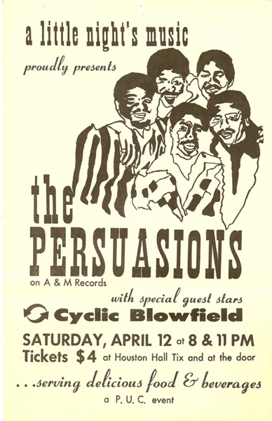 Persuasions poster, ca. late 1970's.  From Classic Urban Harmony Archives