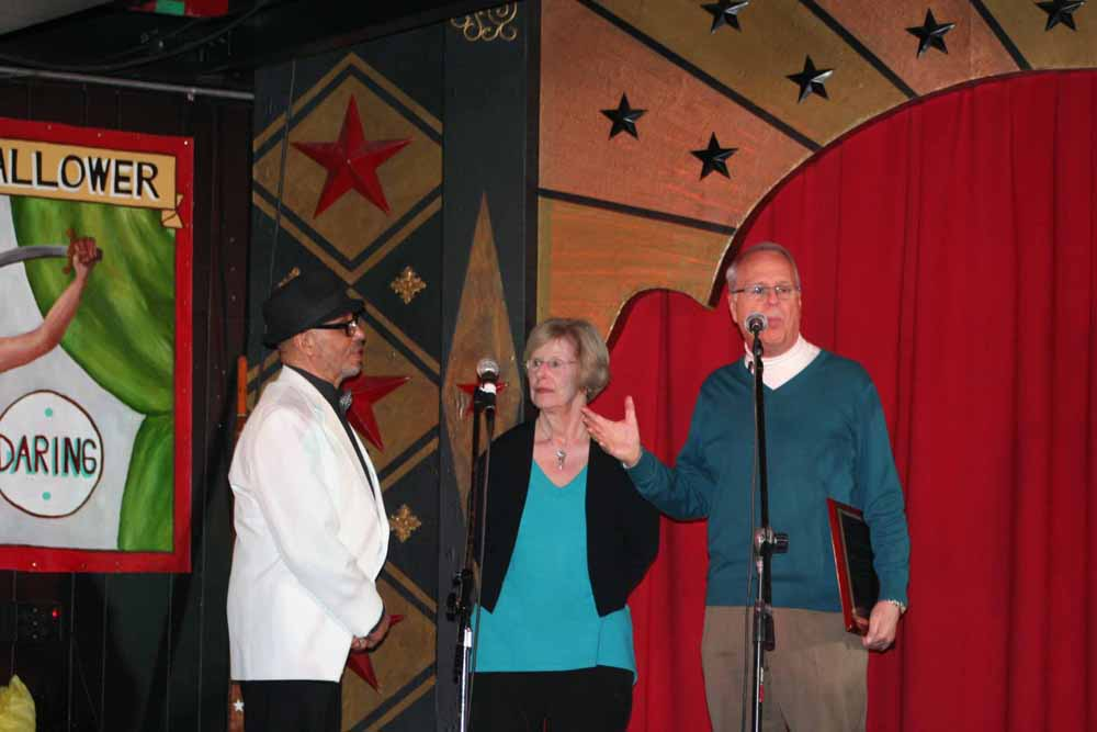 Pam & Charlie introducing Gaynel Hodge.  Photo by Marian Cicerale.
