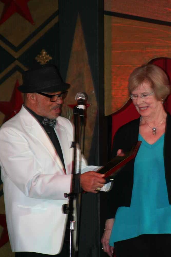 Presenting Gaynel Hodge with a plaque.  Photo by Marian